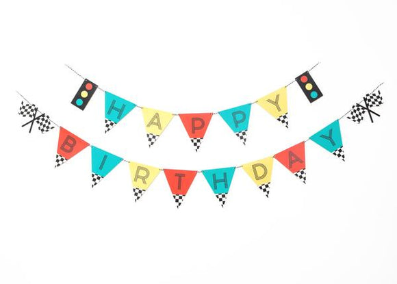 Vintage Race Car Party - Happy Birthday Banner