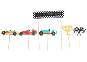 Vintage Race Car Party - Cupcake Toppers, 11 ct