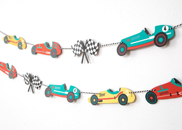 Vintage Race Car Party - Garland
