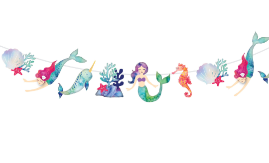 Mermaid and Narwhal Party- Garland