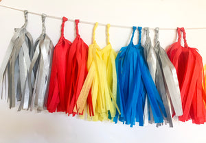 Tissue Tassel Garland Kit- Metallic Silver, Red, Yellow, Blue