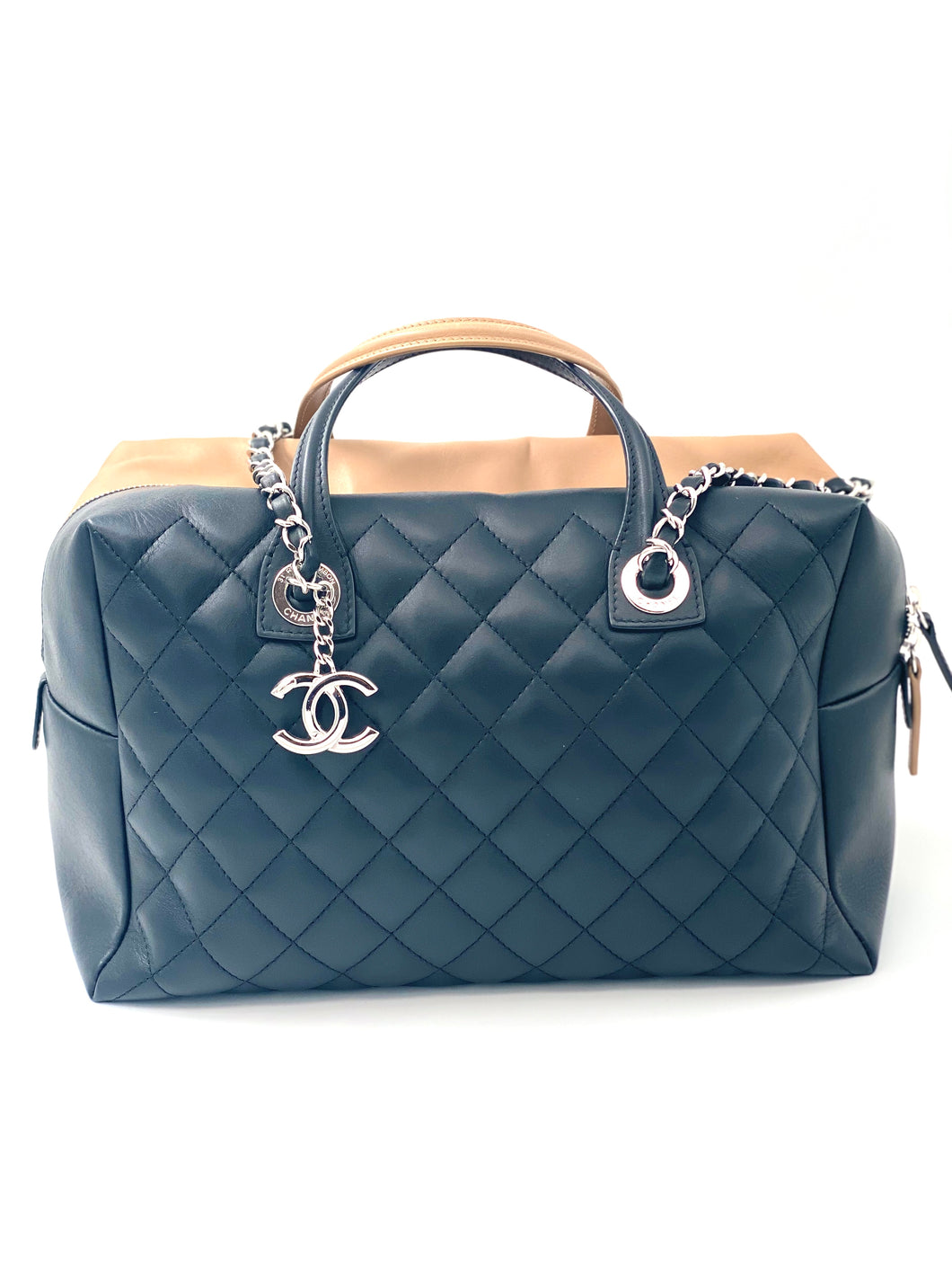 Chanel Calfskin Quilted Bi-Color Feather Weight Bowling Bag Black Beige
