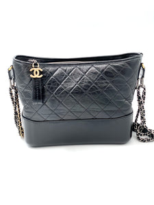 Chanel Gabrielle shoulder bag in black quilted leather