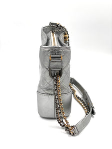 Chanel Gabrielle Hobo Bag Diamond Gabrielle Quilted Aged Medium Metallic Silver