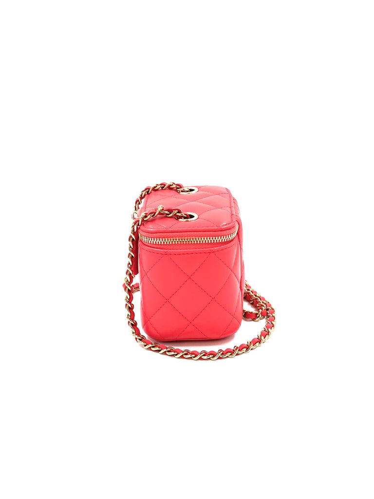 Chanel Lambskin Quilted Mini Vanity Case with Chain Bag