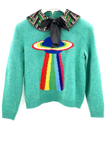 Gucci Embellished Green Ufo Planet Sequin-Collar Sweater