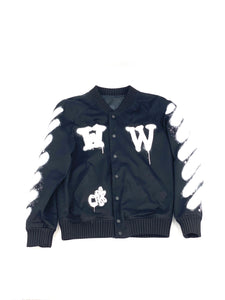 ‪ ‬off-white Men's Black Spray Paint Bomber Jacket