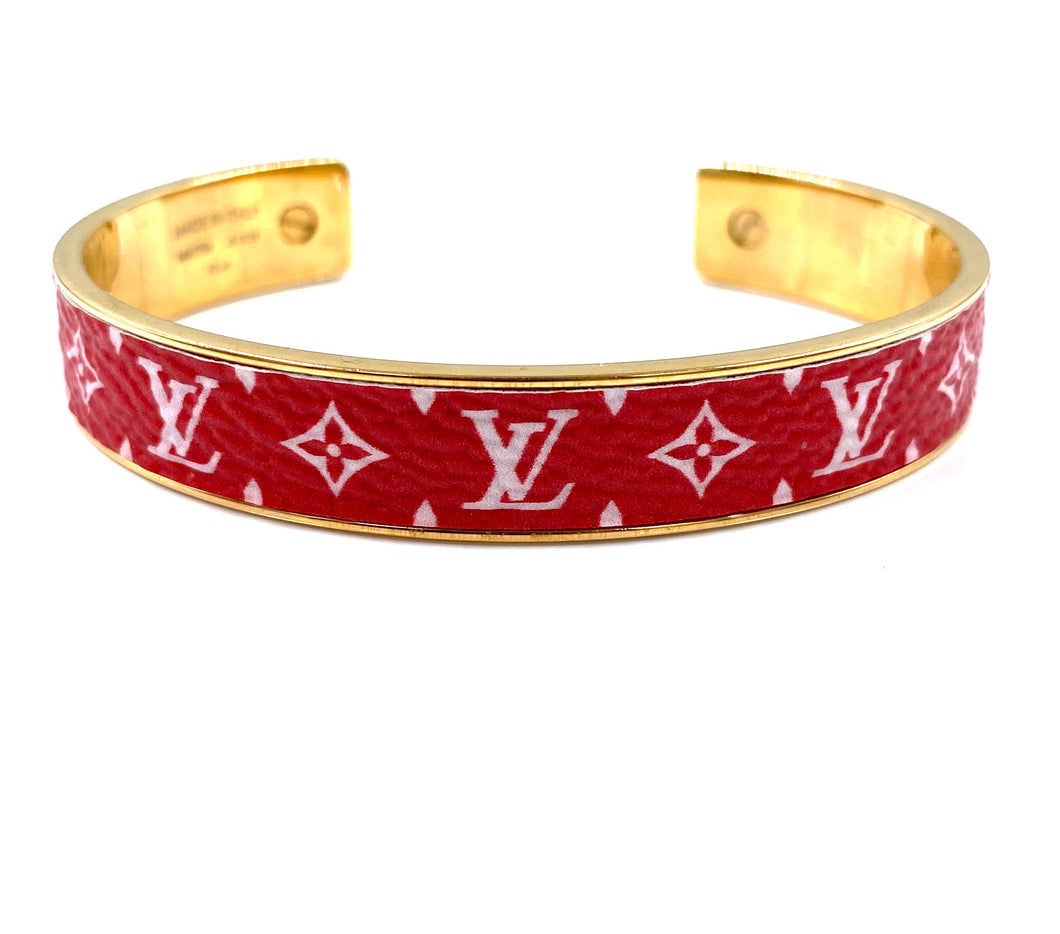 Louis Vuitton Gold Red Monogramm Armreif Manschette