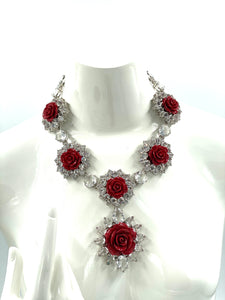 Prada Crystal Resin Rose Bib Necklace