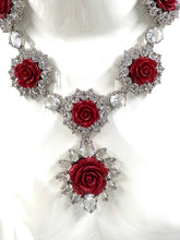 将图片加载到图库查看器,Prada Crystal Resin Rose Bib Necklace