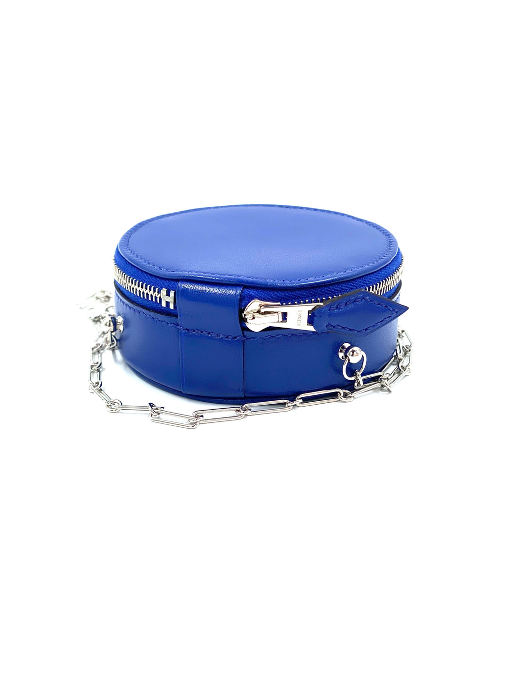 Hermes round cosmetic Mini bag with chain