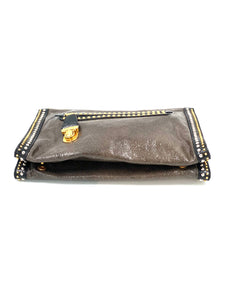 Prada Olive Green/Black Crackled Leather Studded Clutch