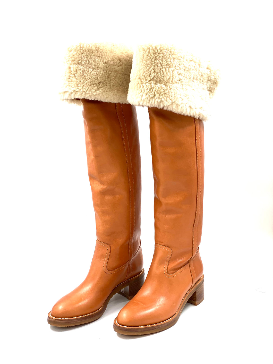 Celine Folco Thigh High Boot In Calfskin In Camel