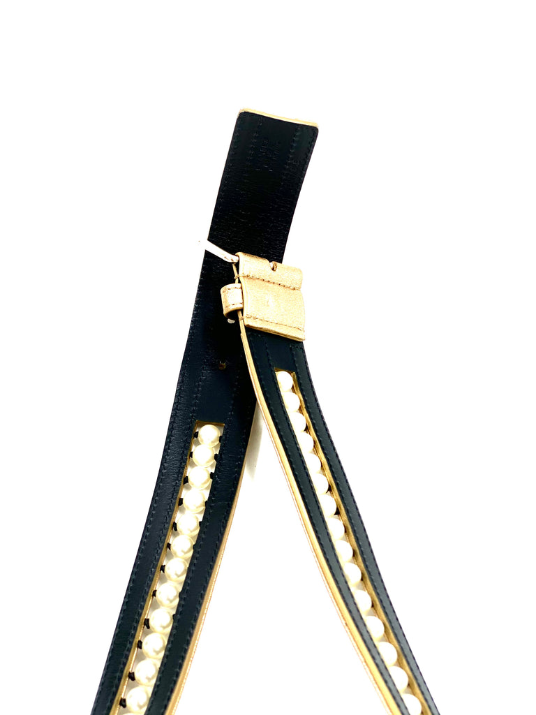 Chanel Leather And Pearls Belt