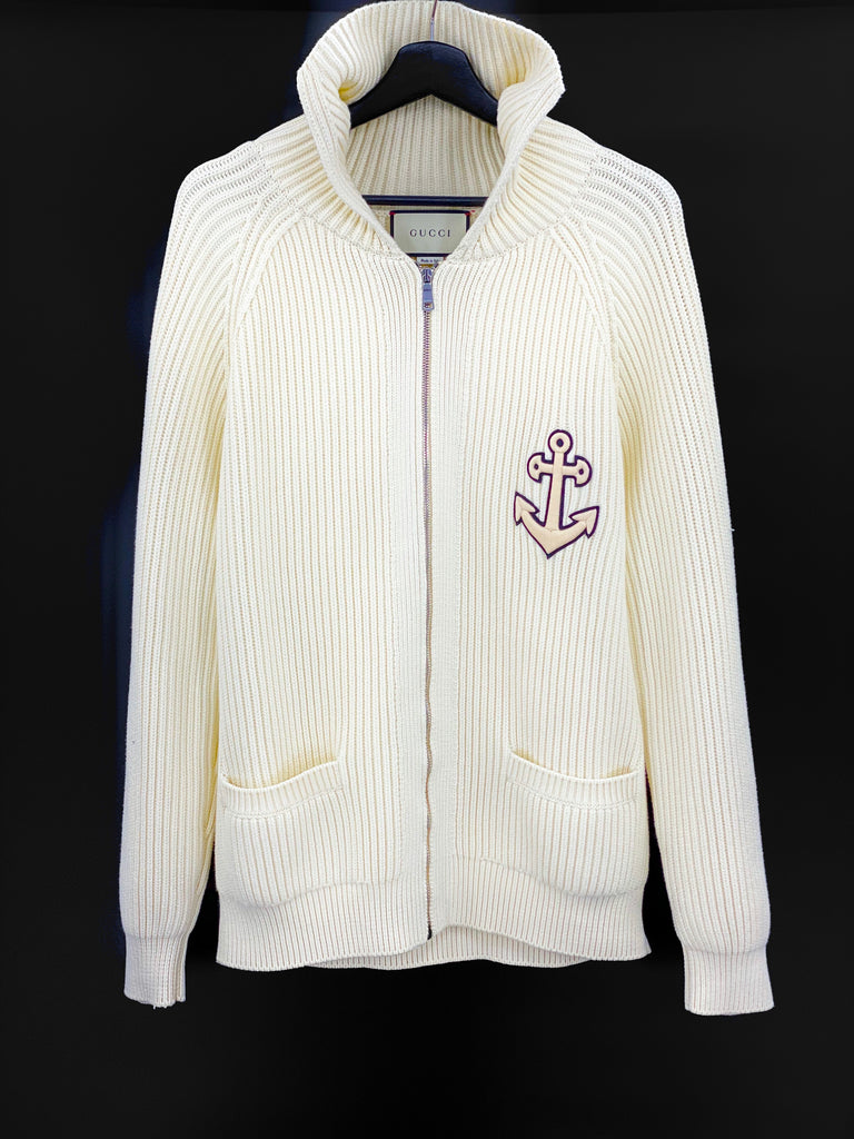 Gucci white Anchor-patch zipped jacket