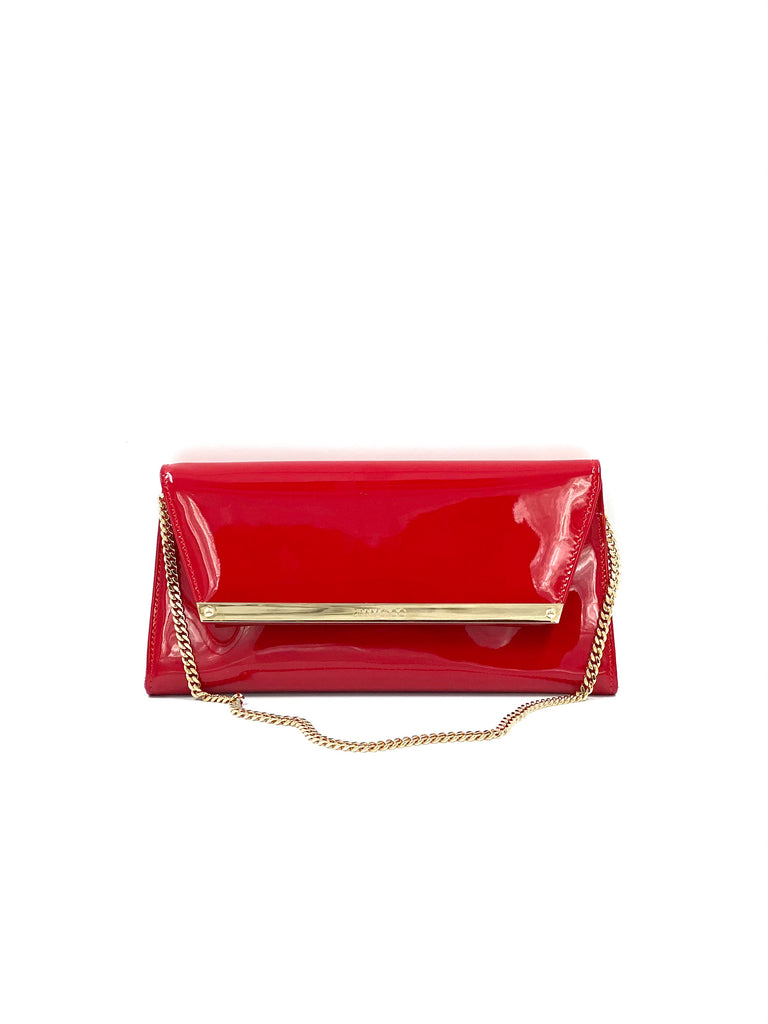 Jimmy Choo Margot Patent Leather Chain Clutch Red