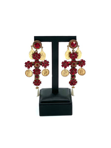 Cross earrings with red rhinestones and Pearl