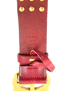 Gucci Red Studded Leather Double G Belt