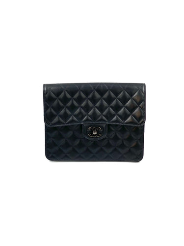 Chanel Black Quilted Leather Classic Flap Clutch Bag