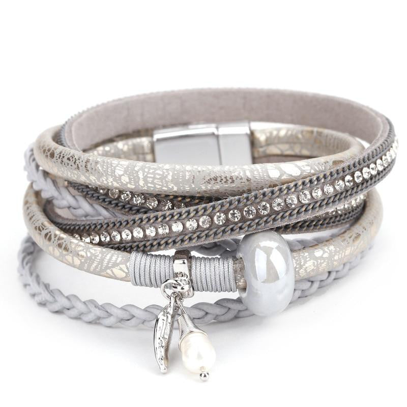 Stylish Multilayer Leather Charm Bracelet - Quaintrelle Collection