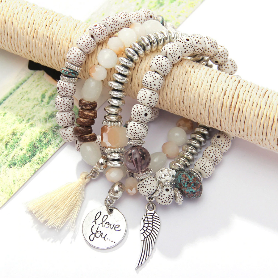 Handmade Vintage Boho Tassel Bracelet Set (4pcs) - Quaintrelle Collection