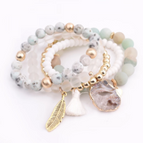 Trendy Natural Stone Druzy Agate Charm Bracelet Set (5pcs) - Quaintrelle Collection