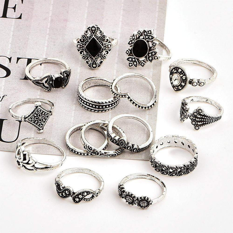 Retro Crystal Flower Ring Set (15pcs) - Quaintrelle Collection