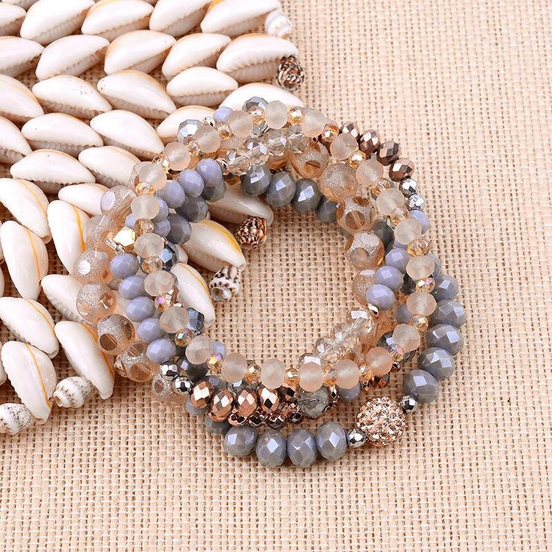 Gorgeous Faceted Glass Beads Bracelet Set (5pcs) - Quaintrelle Collection