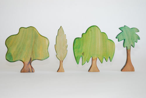 set of 4 wooden trees in various shades of green