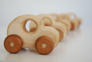 line of wooden cars fading into the distance