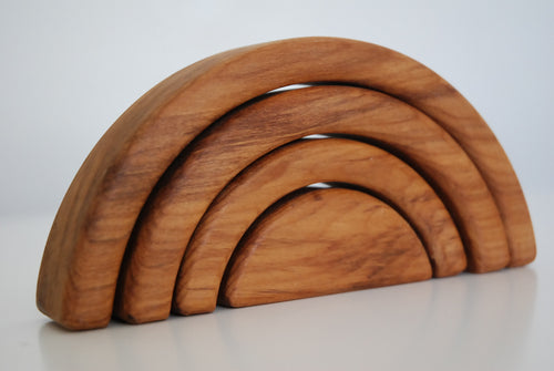 Rimu wooden rainbow on a side angle