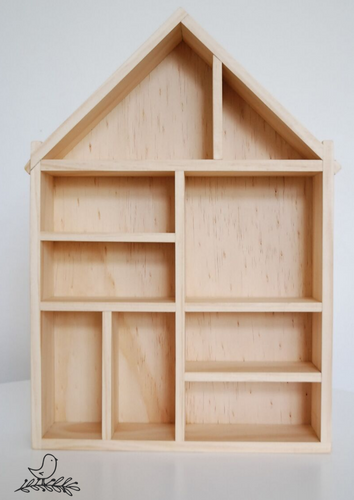 Shadow box shelving unit with empty shelves
