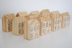 village of wooden toy houses
