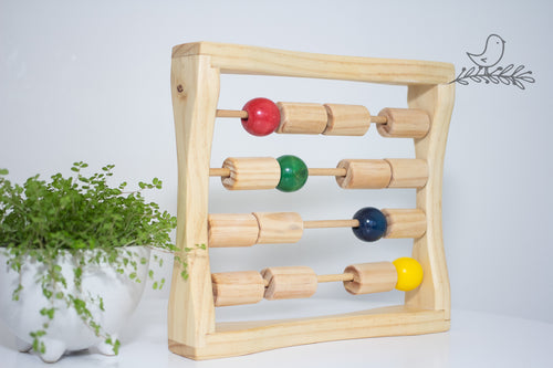 Toy Abacus with red, green, blue and yellow beads