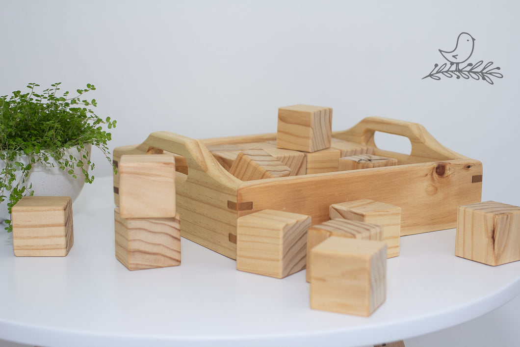 Wooden Box of blocks with Kauri wood inlays.