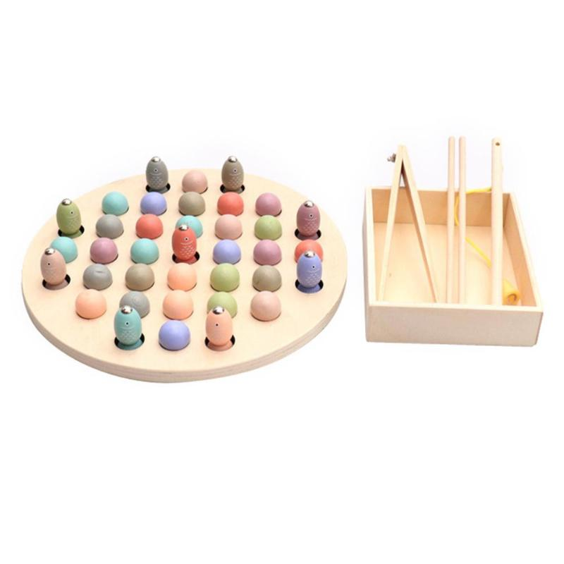 Magnetic Fishing Beads Fishing Wooden Toy Kids Early Development Skill Montessori Educational Toys Desktop Game For Children