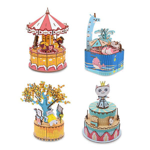 DIY Wood Music Box Carousel Birthday Gift Toy with Machine Core Home Decor Children Bedroom Light Music Box Christmas Gifts