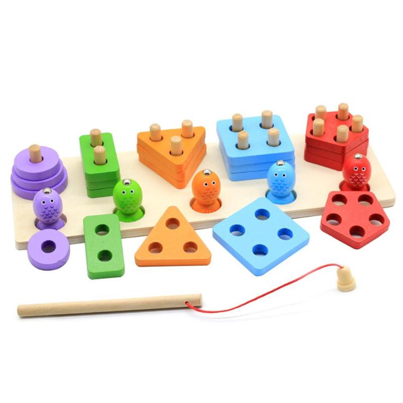 Montessori Wooden Fishing Digital Toys Pillar Blocks Game Colorful Geometric Shape Early Educational Toys for Children Gifts