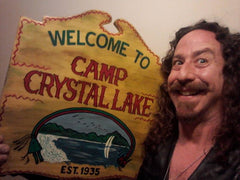 Ari Lehman with one of our Camp Crystal Lake Sign Replicas