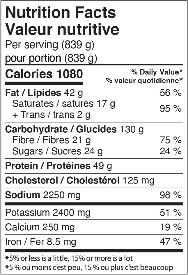 Nutritional Facts - Chili Con Carne with Cilantro-Lime Crema and Baked Tortilla Chips