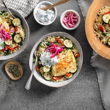 Greek Halloumi Bowl with Orzo, Roasted Vegetables, and Pickled Onions