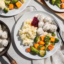 Family Swedish Beef Meatballs with Mashed Potatoes, Roasted Vegetables and Cranberry Sauce