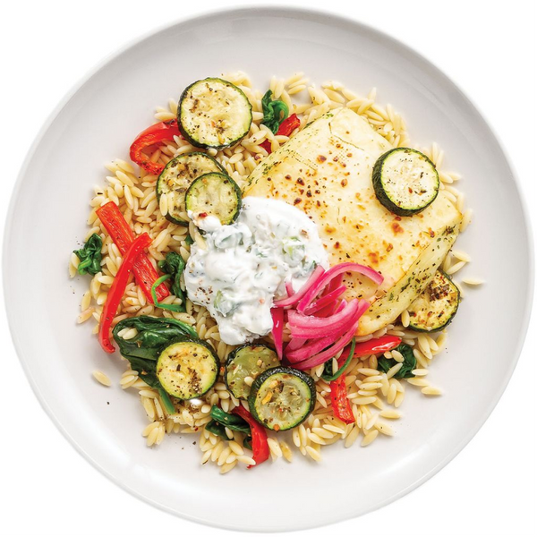 PC Chef Meal Kit, Greek Halloumi Bowl with Orzo, Roasted Vegetables, and Pickled Onions
