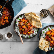 Family Paneer Tikka Masala with Naan and Sweet Pea Rice