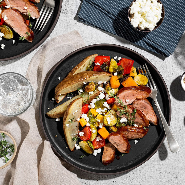 Family BBQ Pork Tenderloin with Thyme Roasted Vegetables and Goat Cheese