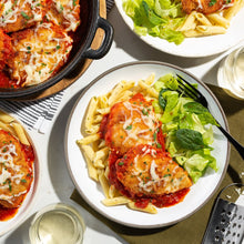 Family Chicken Parmesan with Garlic Butter Penne