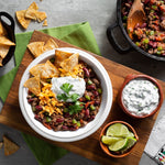 Chili Con Carne with Cilantro-Lime Crema and Baked Tortilla Chips