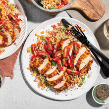 Family Harissa Chicken with Lemony Vegetable Quinoa and Tomato-Mint Salad