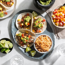 Pork Carnitas Tacos with Mango Salsa, Smashed Avocado and Mexican-style Rice