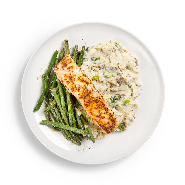 Maple Mustard Roasted Salmon with Crispy Green Beans and Mashed Potatoes